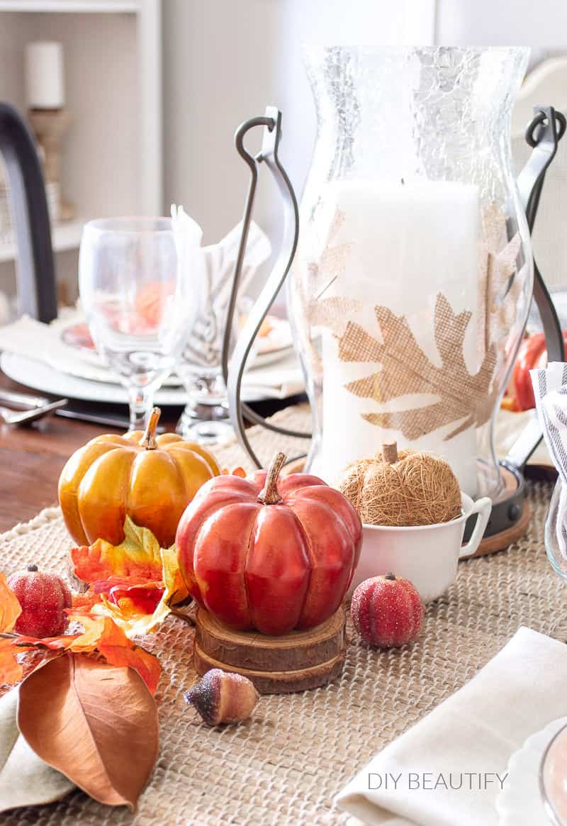 copper pumpkins on fall table