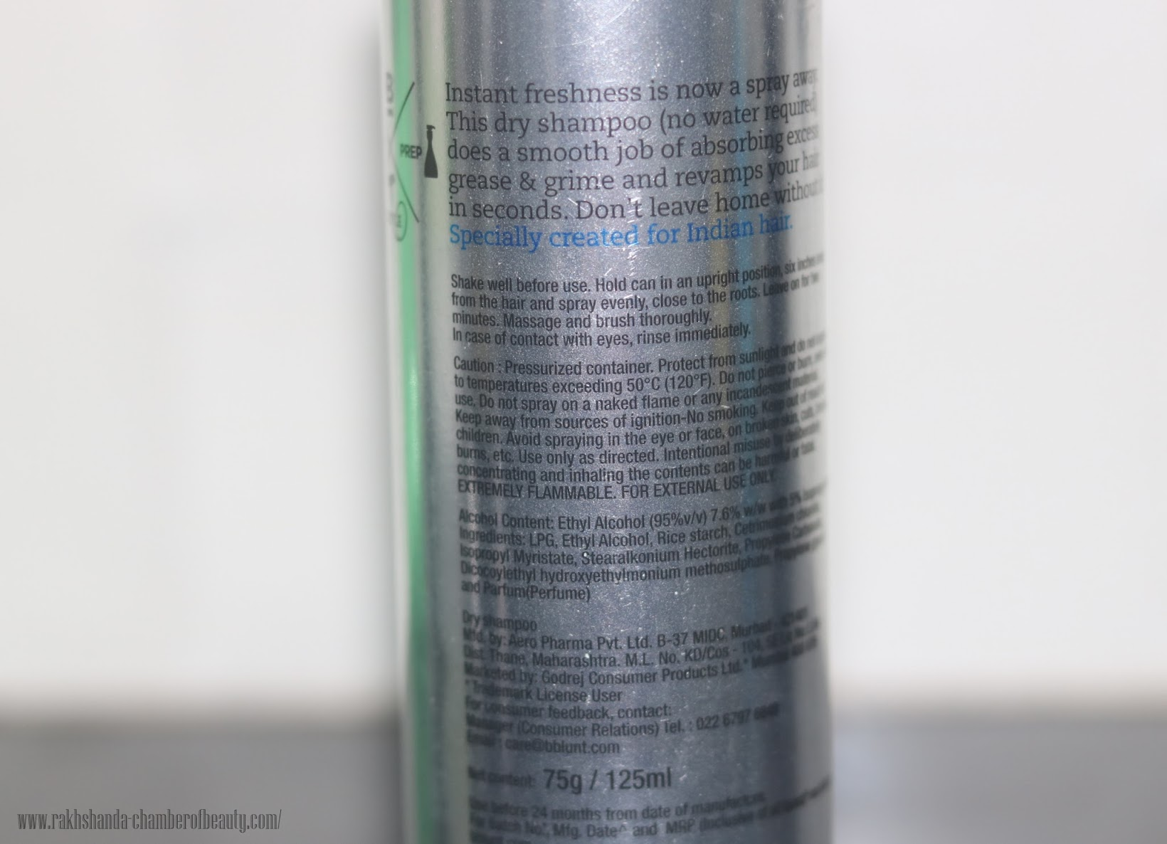 BBlunt Back to Life Dry Shampoo for Instant freshness- Review & price in India, best dry shampoo in India, Indian beauty Blogger, Chamber of Beauty