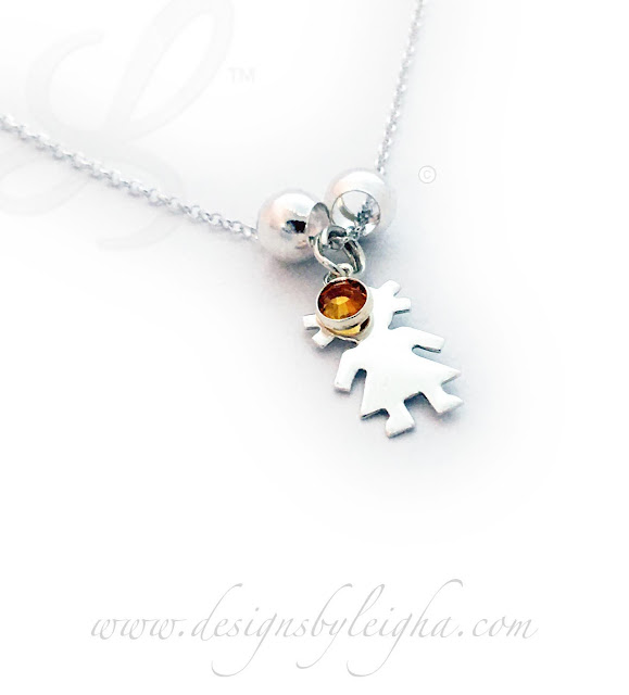Little Girl Charm Necklace with a Topaz Birthstone