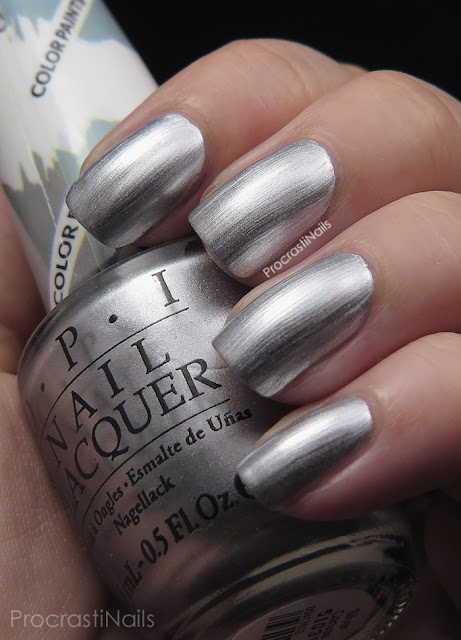 Swatch of OPI Silver Canvas which is a silver metallic polish
