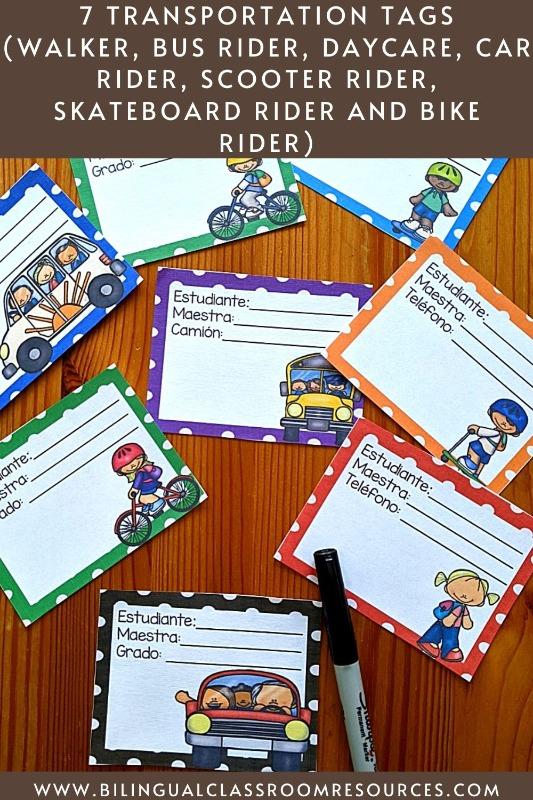 Transportation tags in Spanish