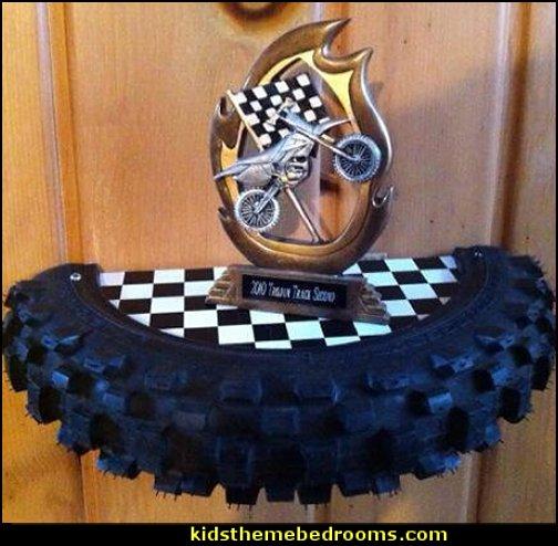 Motocross Tire Shelf  Motocross bedroom ideas - Dirt bike room decor - Dirt bike wall art - Motocross bedding - flame theme decorating ideas - dirt bike room stuff - dirt bike themed rooms - motocross room decor -