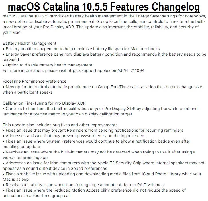 macOS Catalina 10.5.5 Features