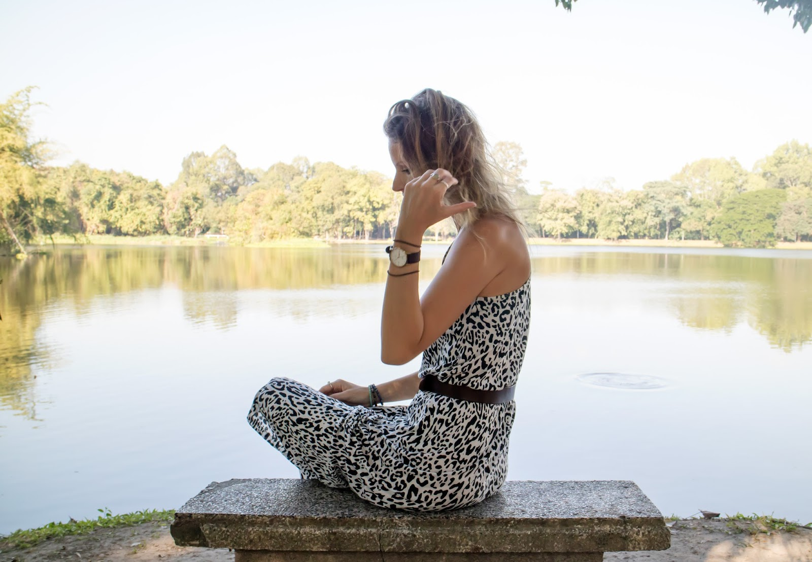 fashion and travel blogger, alison hutchinson, wearing a black and white leopard print maxi dress while on the grounds at Chiang Mai University