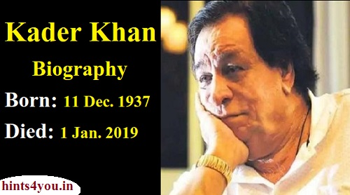 Kader Khan is also a Hindi film comedian, along with being a film director. He has acted in more than 300 films so far. His first film was Dag (1973) in which he played the role of the prosecutor's lawyer.
