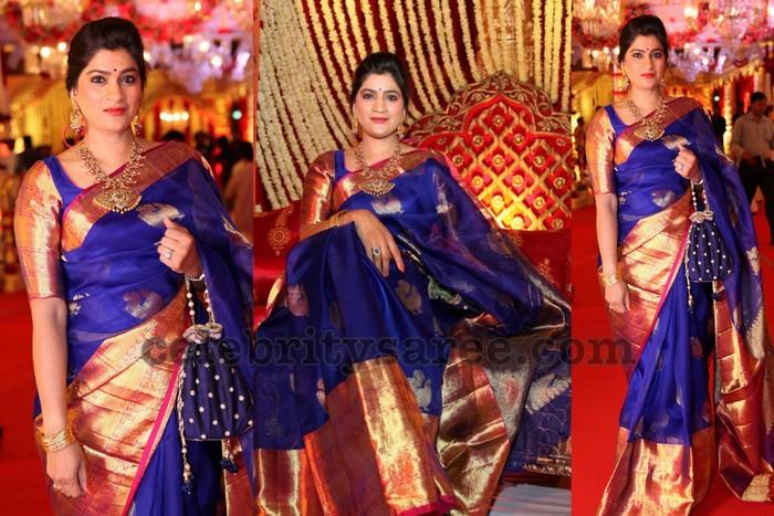 3f9ab58edd117 Bright blue bridal saree with golden zari weave rich big border