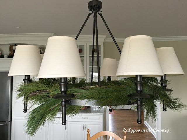 Chandelier with fresh greens for Christmas