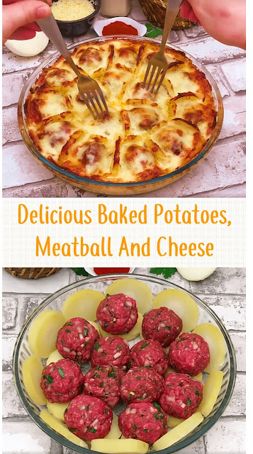Delicious Baked Potatoes, Meatball And Cheese