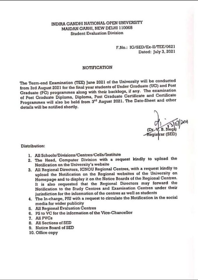 IGNOU to conduct the Term-end Examination (TEE) June 2021 from 3rd August 2021