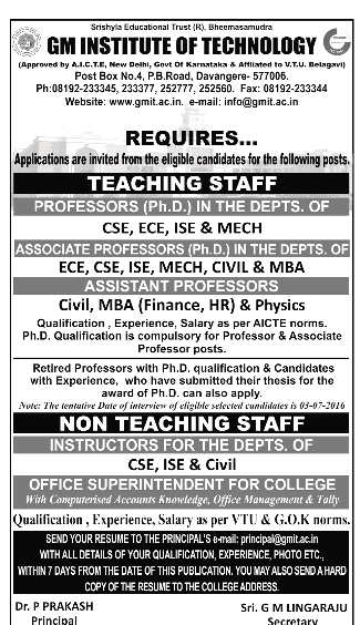 gm institute of technology wanted professor  associate professor  assistant professor