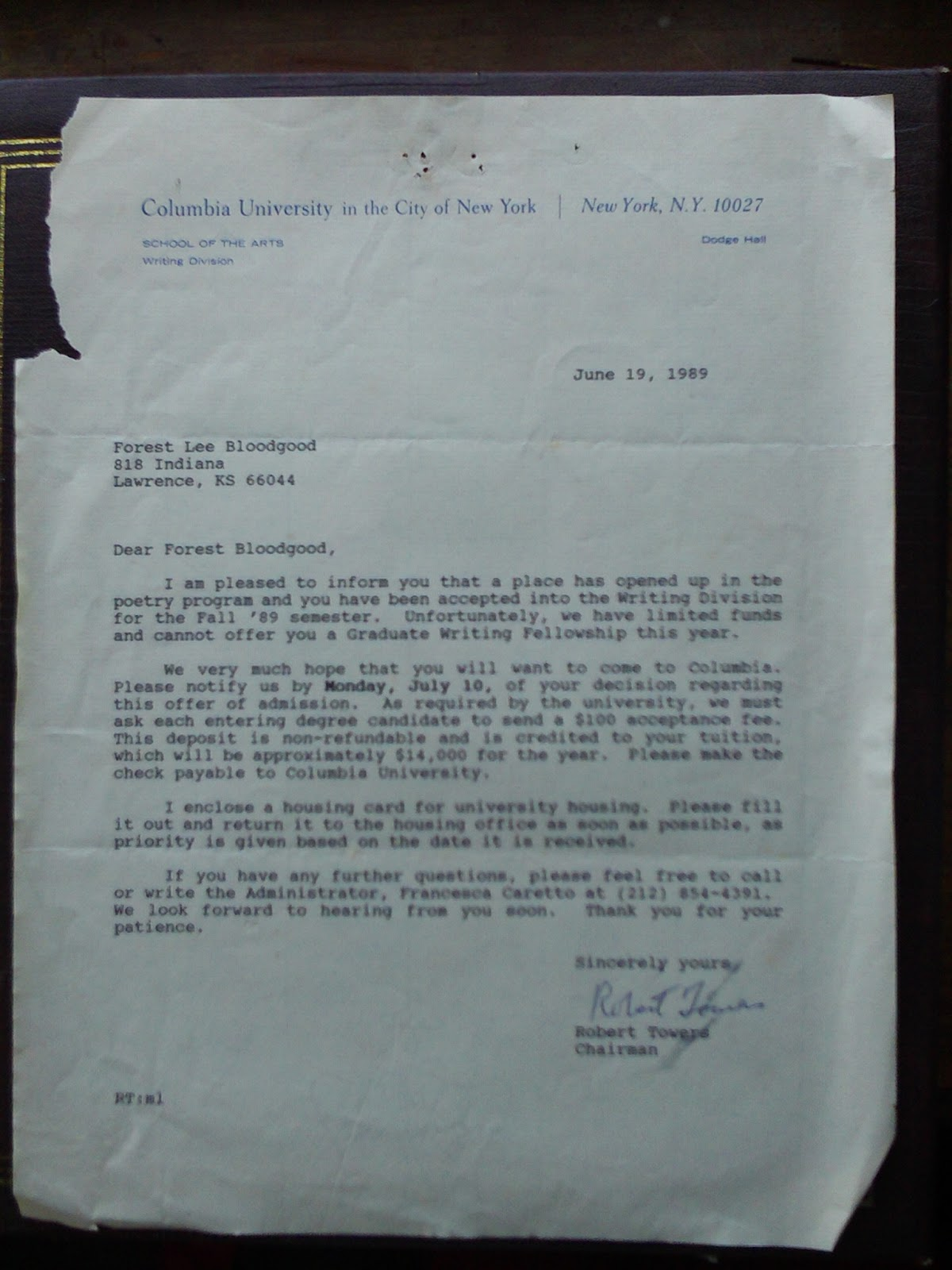 Columbia Acceptance Letter.Poetry Of Forest Bloodgood Acceptance Letter Columbia