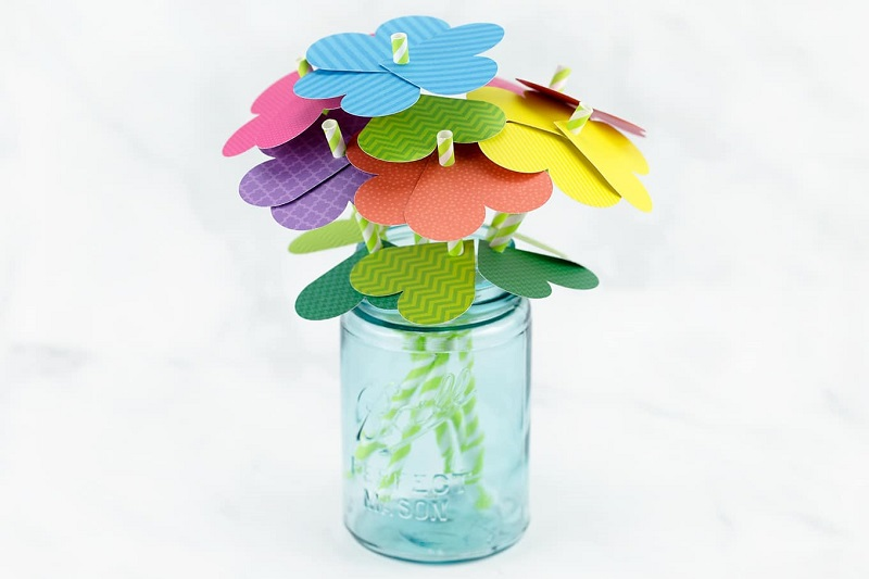 love heart paper flower bouquet