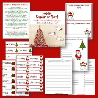 Singular and Plural, with a holiday twist! Here's a fun game for practicing word work and nouns, with a holiday theme!