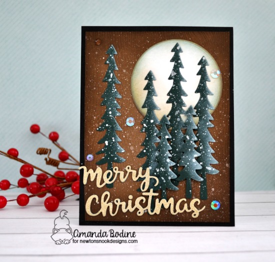 Winter Trees Christmas card by Amanda Bodine | Forest Scene Builder Die Set and Holiday Greetings Die Set by Newton's Nook Designs  #newtonsnook #handmade