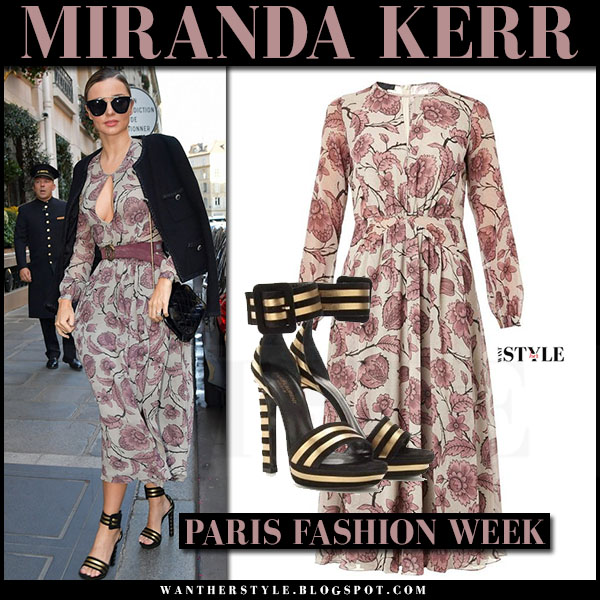 Miranda Kerr in floral print burberry dress, black jacket and black platform sandals saint laurent paloma what she wore paris fashion week