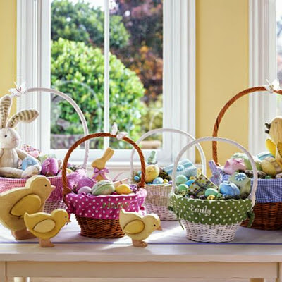 Easter Baskets instead of Easter eggs  ~ Coloring Pages