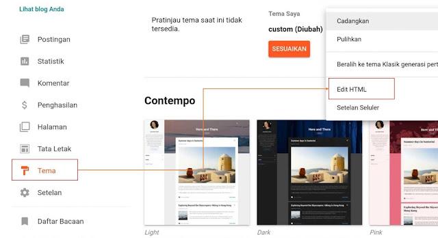 pengatuan editor HTML blogger
