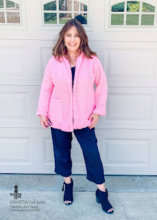 Kawartha Cardi Jacket in Pink Shearling Knit worn by Sharon Sews