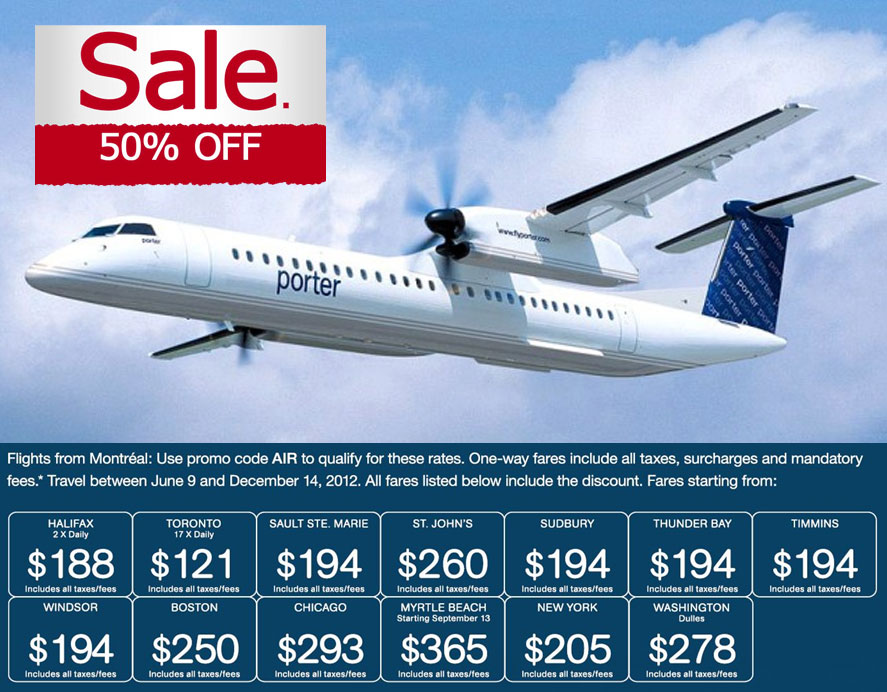 porter airlines coupon codes 2019