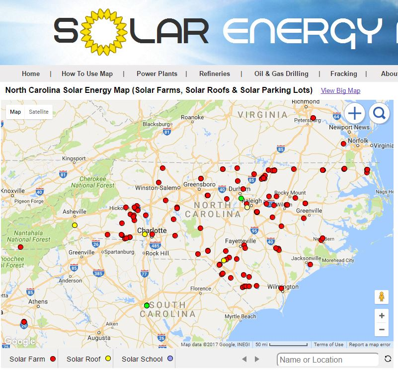Solar Energy Maps North Carolina Solar Farms Map - Map of n carolina