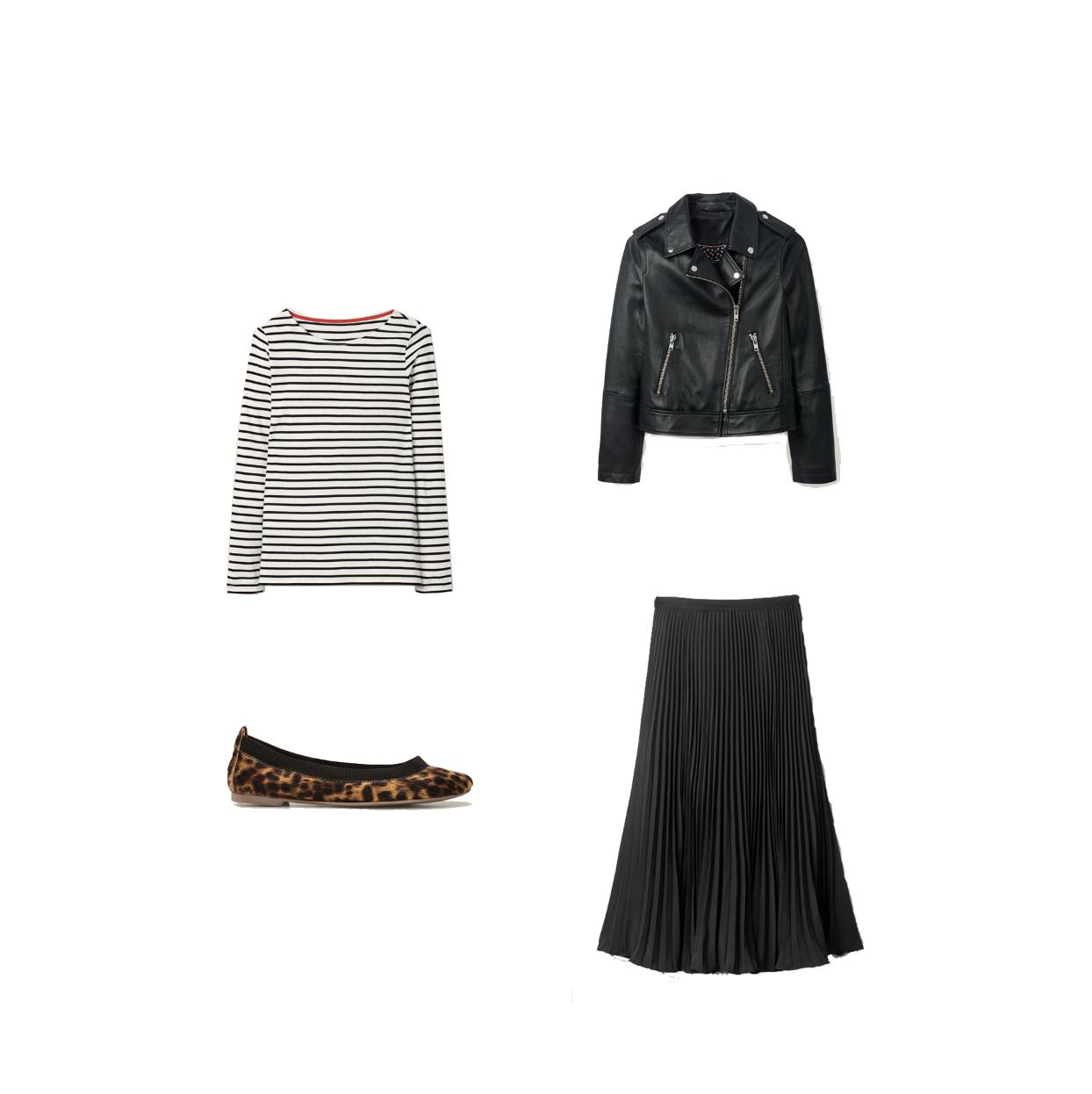 boden hetti flex ballerinas, my midlife fashion, boden leather biker jacket, boden stripe cotton breton top, boden pleated midi skirt