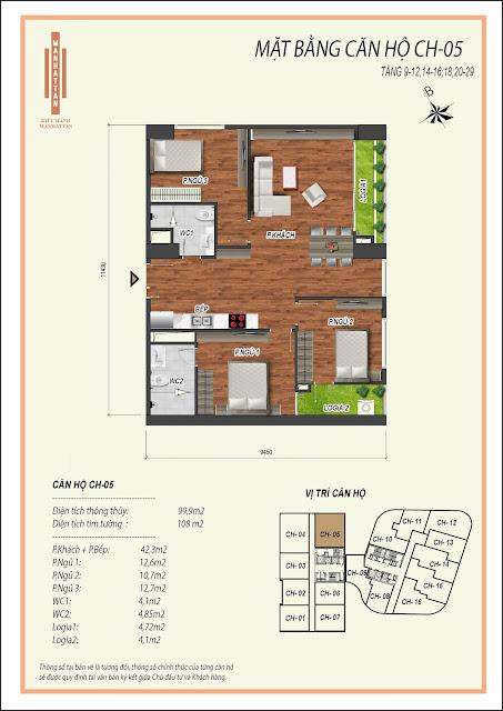 Thiết kế căn hộ 05, diện tích 99,9m2, có 03 phòng ngủ