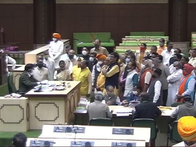 बजट सत्र LIVE:कोटा में RSS कार्यकर्ता पर हमले को लेकर भाजपा विधायकों ने नारेबाजी की, विधानसभा दो बार स्थगित हुई, अब अभिभाषण पर बहस