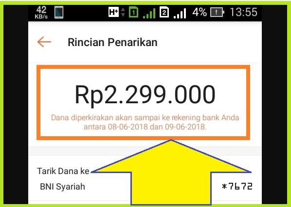 Pemberitahuan Uang Masuk ke Rekening Bank