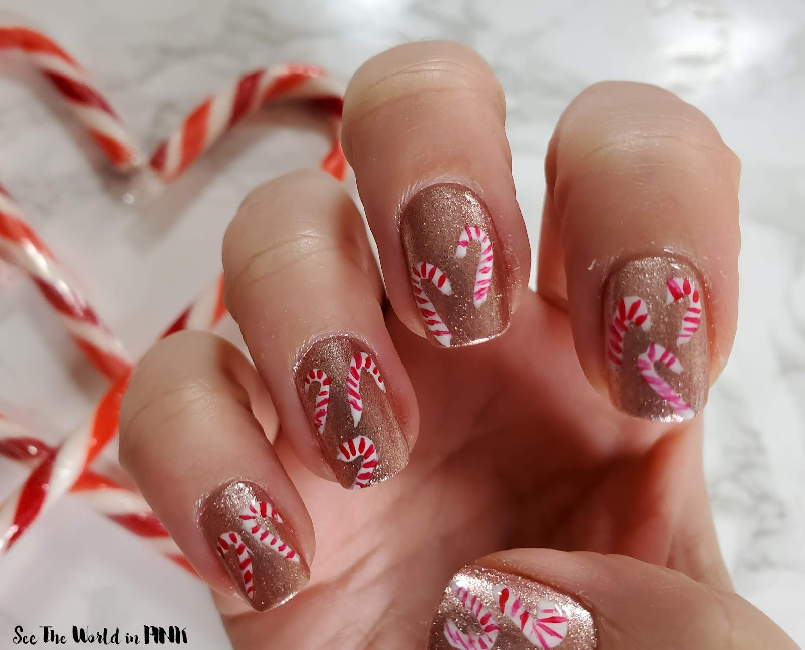 Manicure Monday - Mini Candy Cane Nail Art