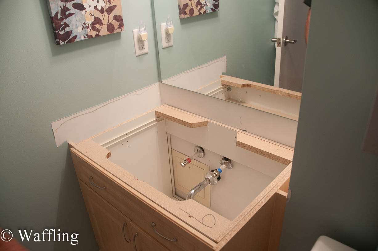 Waffling installing a new bathroom countertop - How to replace a bathroom vanity ...