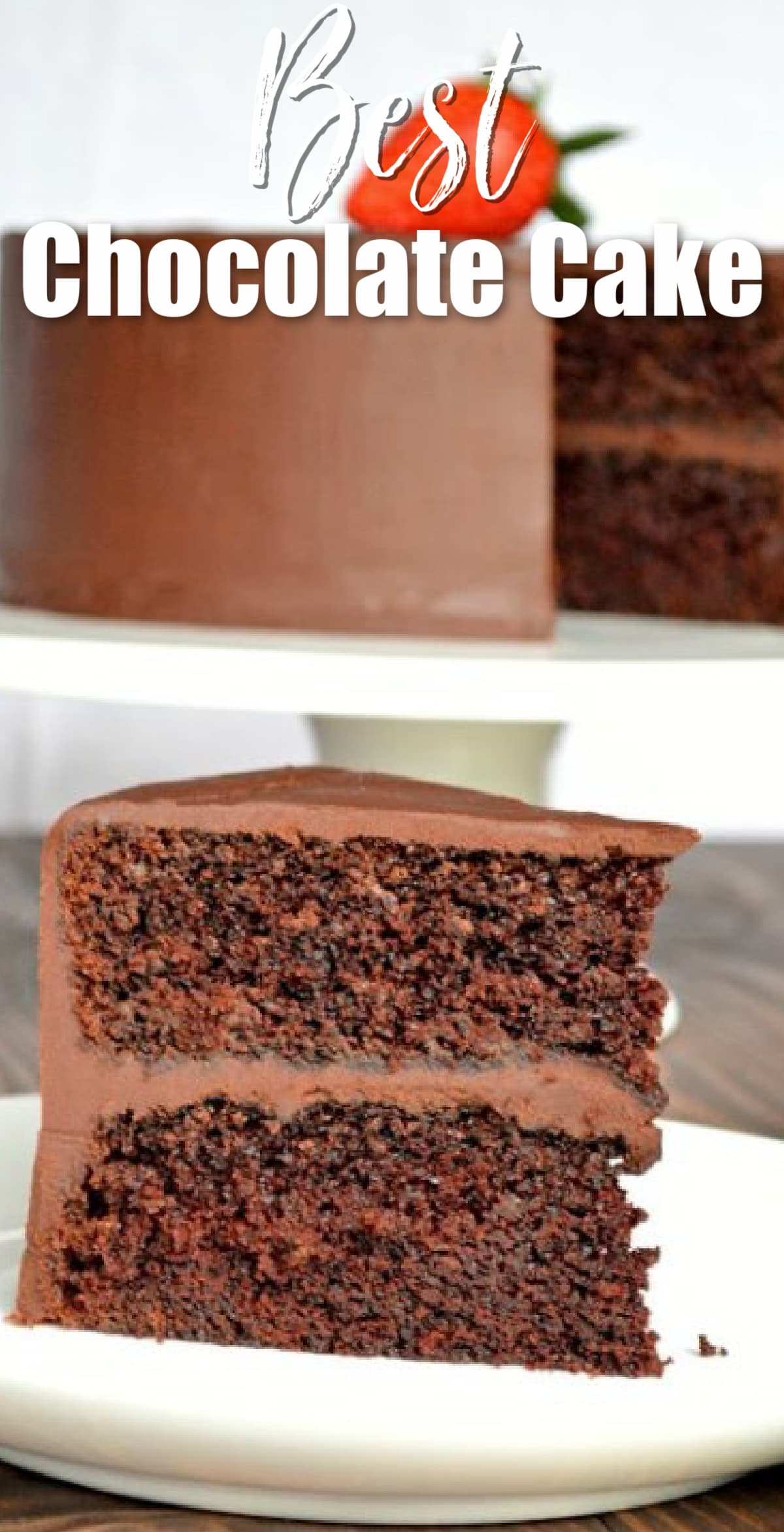 A slice of the Best Chocolate Cake on a white plate with text at the top Best Chocolate Cake.
