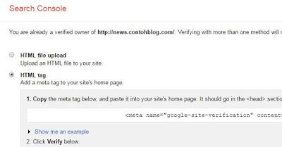 como adicionar propriedade do blogger no webmaster tools