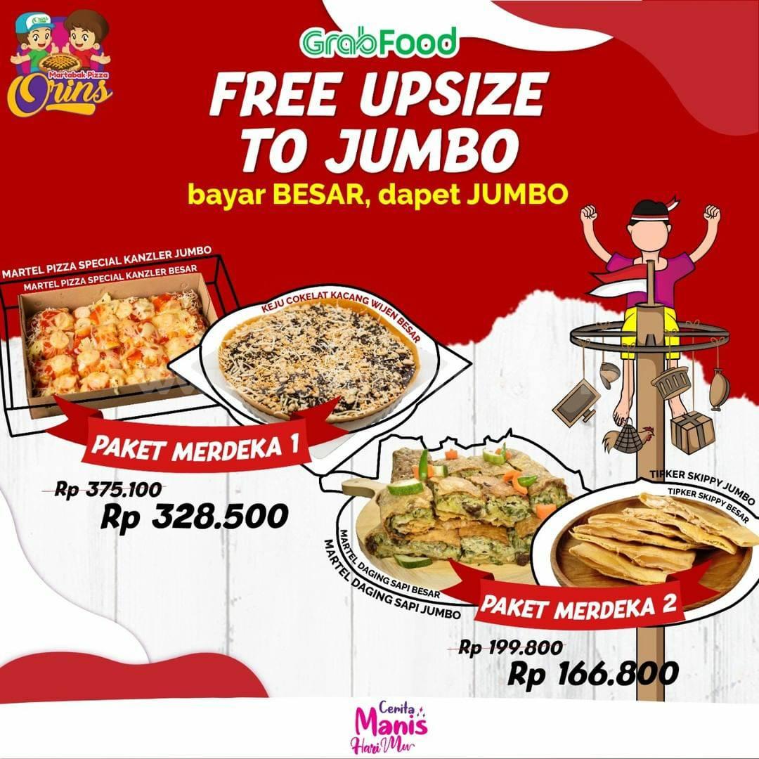 Martabak Pizza Orins Promo Paket Merdeka - Free Up Size to Jumbo via Grabfood