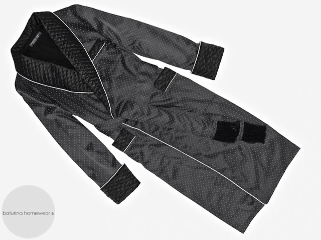 mens quilted black silk dressing gown smoking robe vintage gentleman extra long housecoat