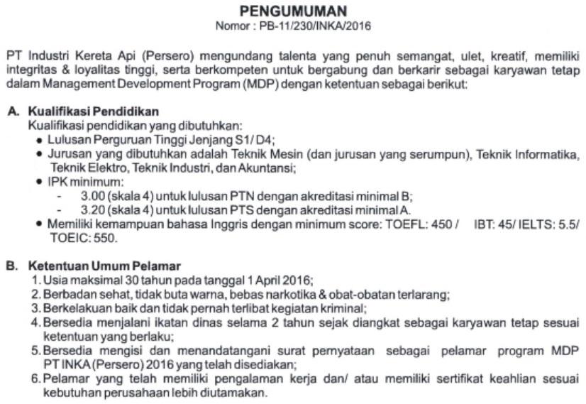 Rekrutmen Karyawan Tetap Program MDP PT Industri Kereta Api (Persero)