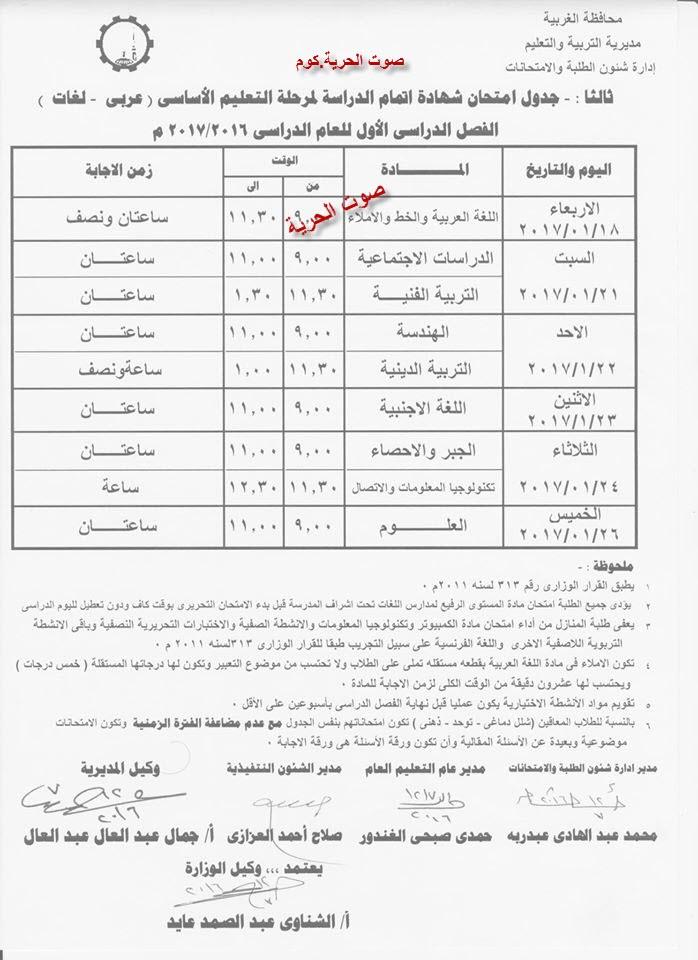 جدول امتحانات الصف الثالث الإعدادي الترم الأول 2017 محافظة الغربية