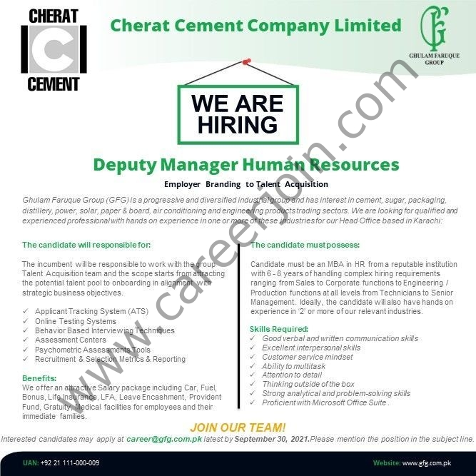 career@gfg.com.pk - Cherat Cement Company Limited Jobs 2021 in Pakistan