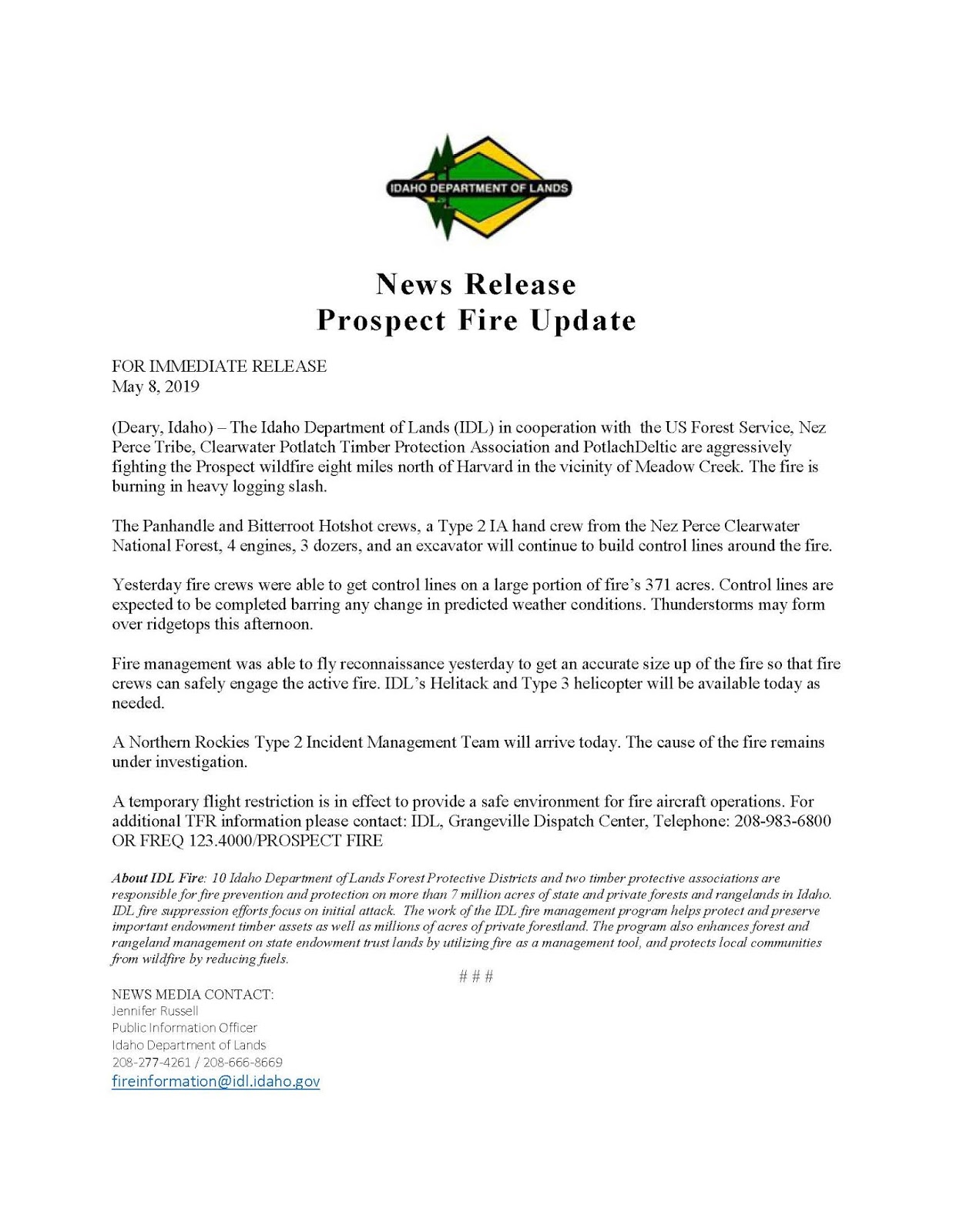 prospect fire update may 8th 2019 [ 1237 x 1600 Pixel ]
