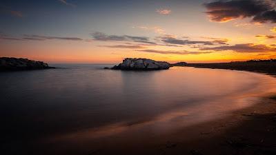 Wallpaper beach, sea, island, sunset, clouds