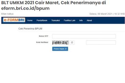 BLT UMKM 2021 Cair Maret, Cek Penerimanya di eform.bri.co.id/bpum