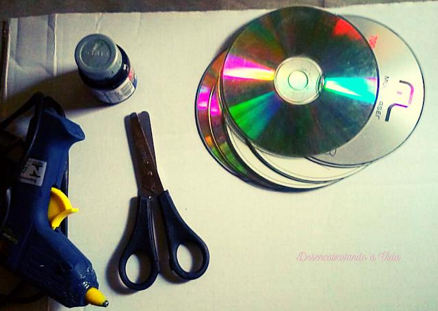 materiais artesanato cd e dvd desencaixotando a vida