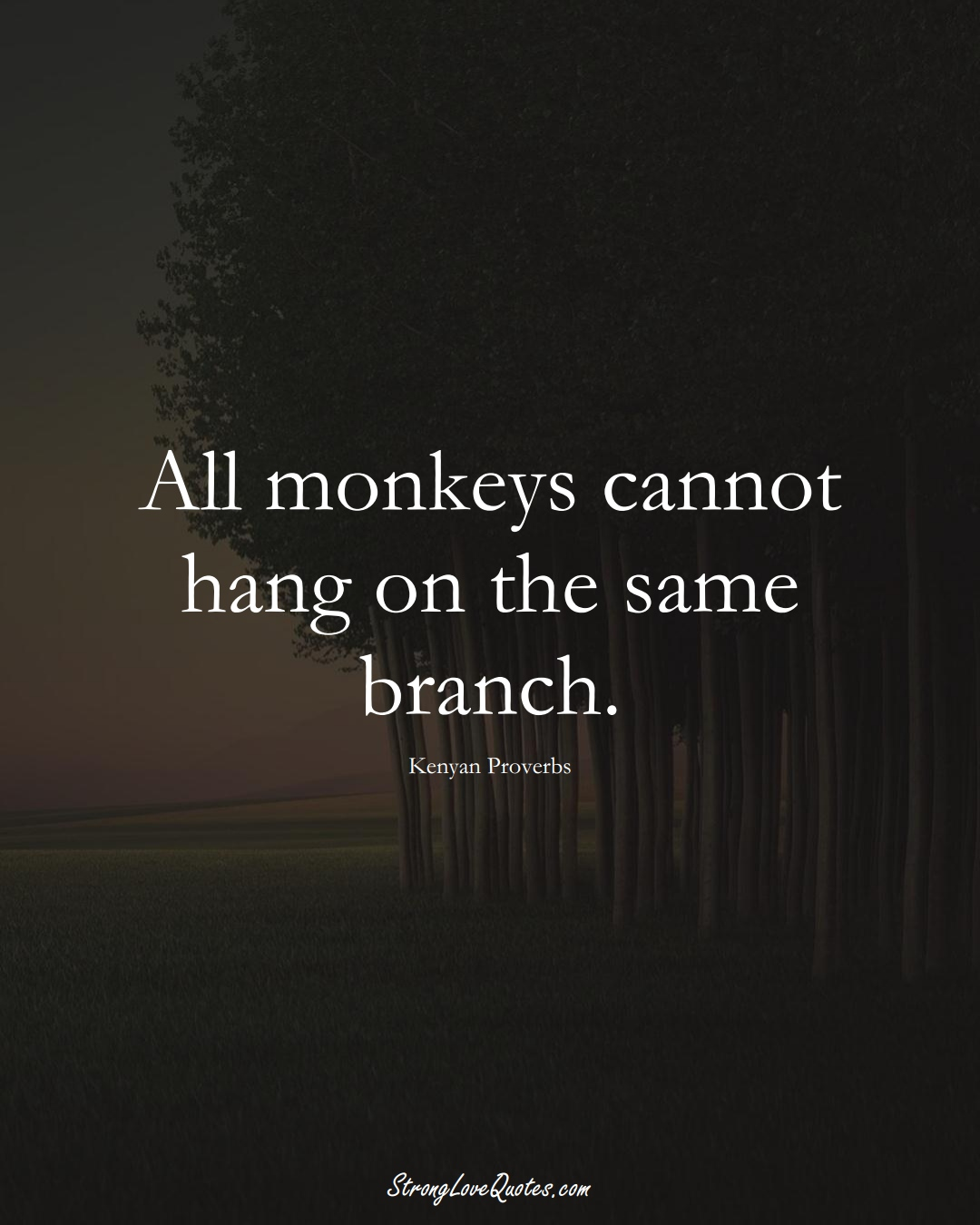 All monkeys cannot hang on the same branch. (Kenyan Sayings);  #AfricanSayings