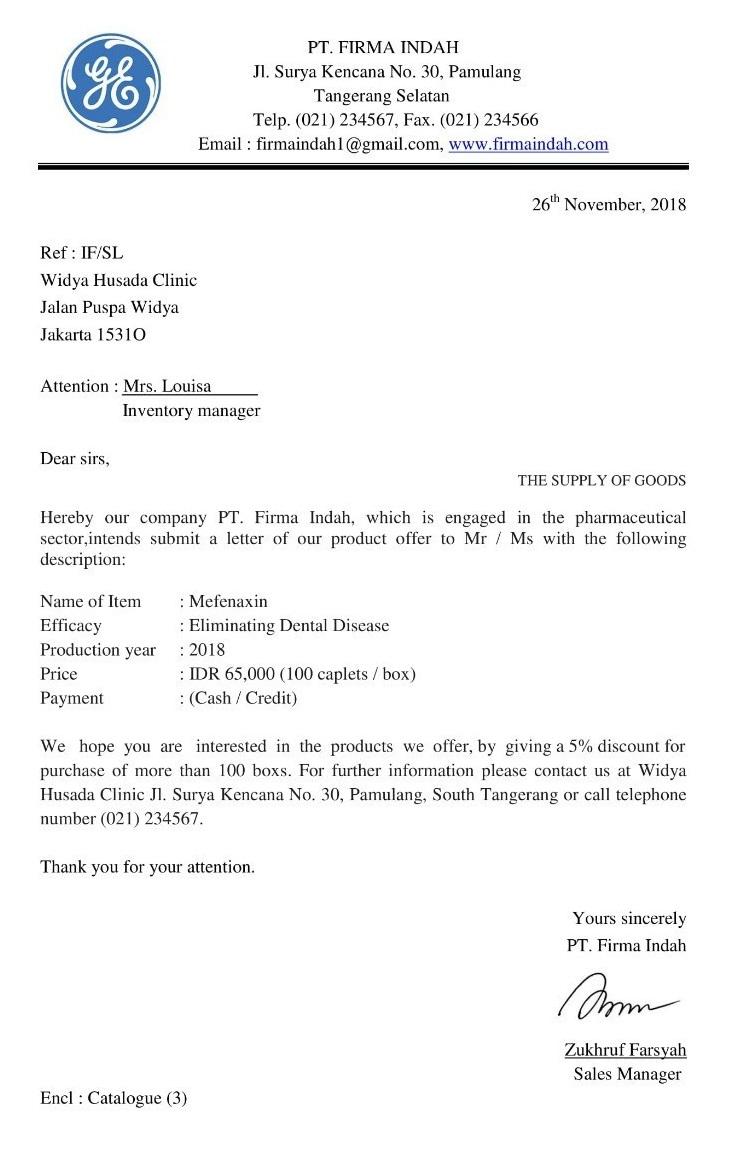 Contoh Surat Penawaran Barang Dalam Bahasa Inggris