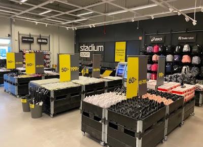 Interiör från Stadium Outlets butik i Varberg.