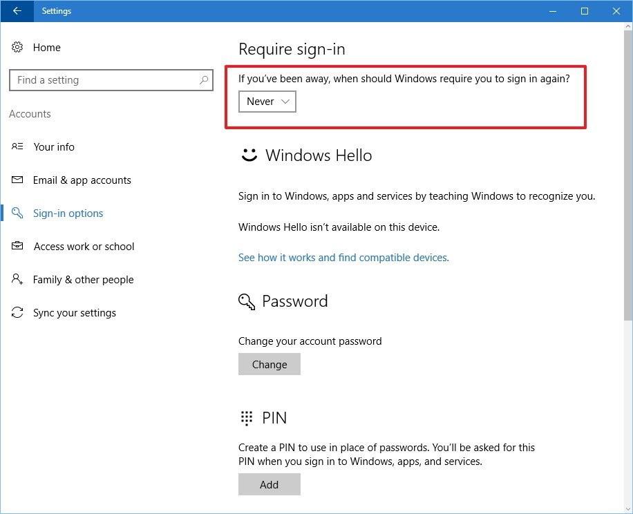 Thiết lập trên máy tính Windows 10