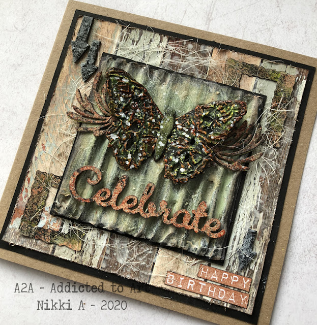 Mixed Media Birthday Card with Tim Holtz Tattered Butterfly die