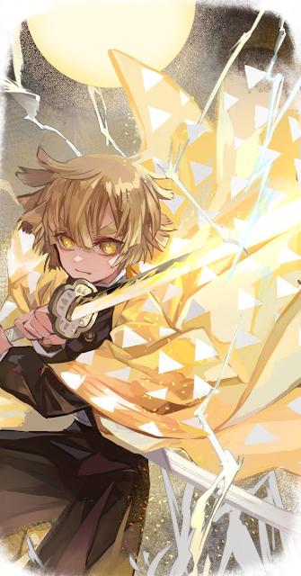 zenitsu agatsuma kimetsu no yaiba anime hd wallpaper