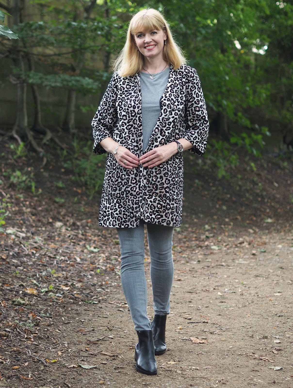 Kaleidoscope Leopard print jacket, grey jeans and black leather chelsea boots