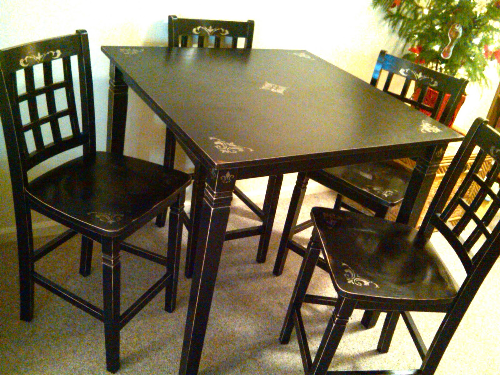 the weathered chest pub style table and chairs finally