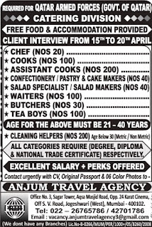 Qatar Armed Forces Catering Division jobs